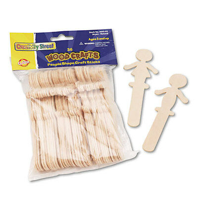 """Chenille Kraft People-Shaped Wood Craft Sticks, 5 3/8"""", wood, Natural, 36/Pack"""