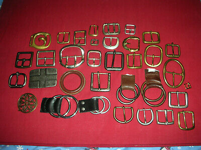 Mixed Lot of 30+ Solid Brass Belt Buckles ~ Leatherwork ~ Crafts ~ Macrame