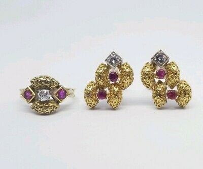 Rare Vintage Estate 18K Diamond And Ruby Ring And Earring Set