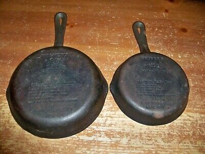 Lot Of 2 -- WAGNERS 1891 Original Cast Iron Skillets -- 8 inch & 6 1/2 inch Pans