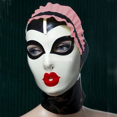 New 100% Latex Rubber Mask Masque Fashion Colorful Lace Unique Mask XXS-XXL