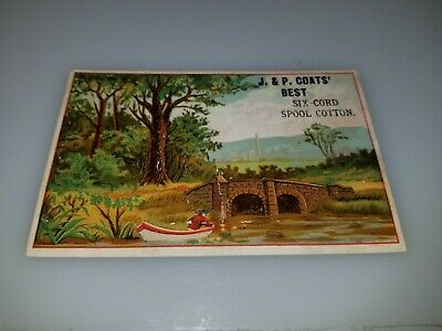 Antique Victorian Trade Card Jp Coats Best Six Cord Spool Cotton Row Boat
