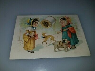 Antique Victorian Trade Card Jp Coats Best Six Cord Spool Cotton Women With Dogs