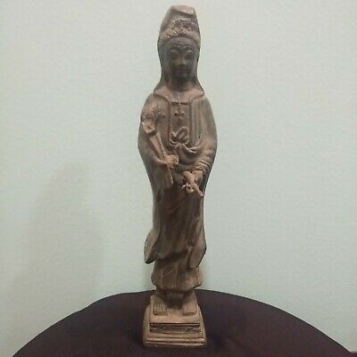 Antique China Tibet Bronze Buddha Statue Kwan Yin Stand Amulet Temple Old Relic