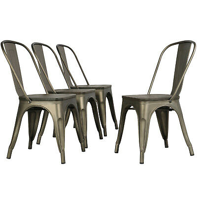 Metal Dinning Chairs with Wooden Seat Stackable Side Chairs Kitchen Wood Decro