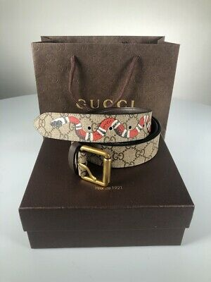 e1b7334f4 GG Supreme GUCCI belt with kingsnake print gold buckle leather with box