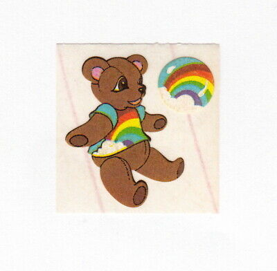 Vintage Adorable Teddy Bear With Rainbows Sticker