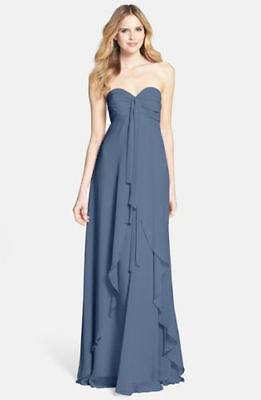 4b64b0bdd396 Jenny Yoo Suri Convertible Strapless Chiffon Dress Evening Blue Sz 14  #273AT NWT