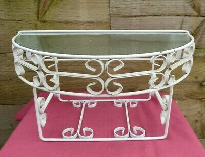 Vintage Wall Mounted Wrought Iron Shelf Telephone Plant Stand With Glass