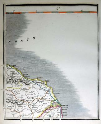 SCOTLAND  BERWICK  DUNBAR   BERWICKSHIRE  JOHN CARY GENUINE ANTIQUE MAP  c1824