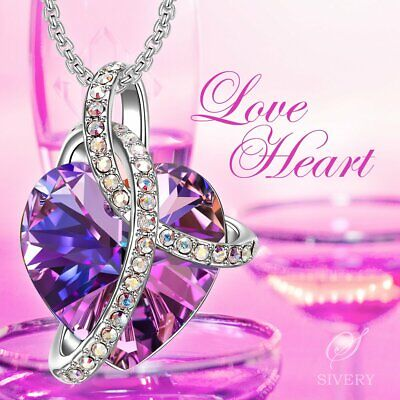 Mothers Day GIFT Jewelry 'Love Heart' Women Necklace Pendant with Swarovski