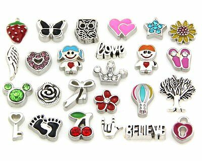 Wholesale Lots 25style Mix Floating Charms for Glass Living Memory Lockets FC3