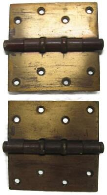 2 Vintage Stanley Brass Commercial Hinges -  4.5 Inch open