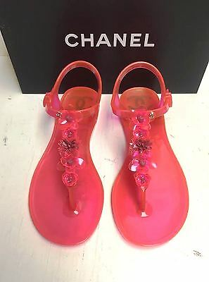 8730b5cd1 Chanel 16C Pink Camellia Flower PVC Beach Thongs Sandals Flats Shoes 37 NIB