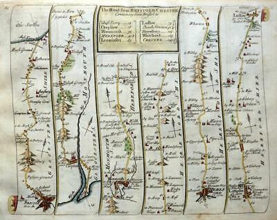 ROAD MAP BY JOHN SENEX c1757 BRISTOL HEREFORD  LUDLOW SHROPSHIRE CHESHIRE