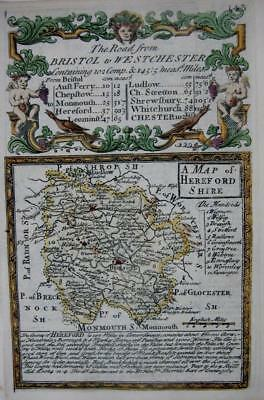 HEREFORDSHIRE HEREFORD   BY EMANUEL BOWEN GENUINE ANTIQUE MAP c1720