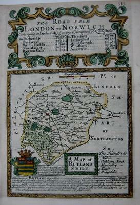 RUTLANDSHIRE  RUTLAND  OAKHAM  BY EMANUEL BOWEN GENUINE ANTIQUE MAP c1720