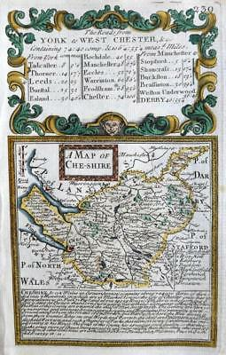 CHESHIRE  CHESTER   BY EMANUEL BOWEN GENUINE ANTIQUE MAP c1720