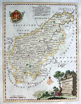 NORTHAMPTONSHIRE  BY THOMAS KITCHIN GENUINE ANTIQUE COPPER ENGRAVED MAP  c1769