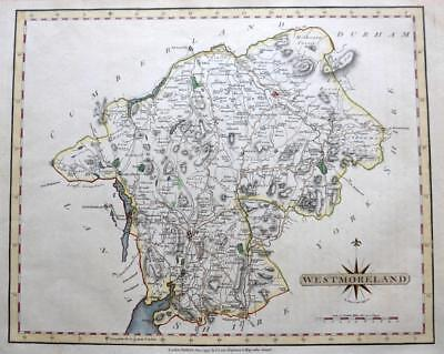 WESTMORELAND AMBLESIDE LAKE DISTRICT  BY JOHN CARY GENUINE ANTIQUE MAP  c1793