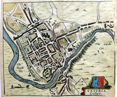 CHESTER CHESHIRE CESTRIA  c1661 BY HERMANNIDES GENUINE ANTIQUE ENGRAVED MAP