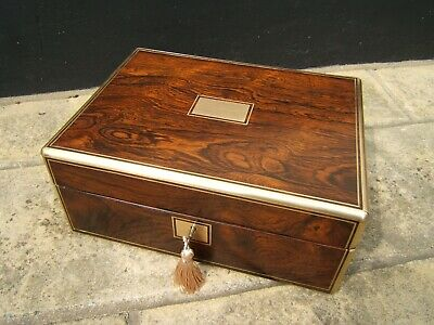 Terrific Large Rosewood Antique Document/Jewellery Box  Fab Interior