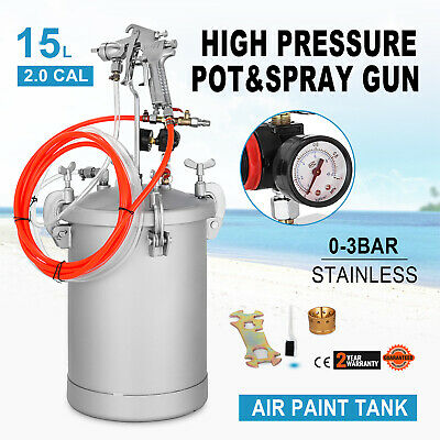 4 Gallon 2.0mm High Pressure Pot Paint Sprayer Lacquer with Spray Gun Painter