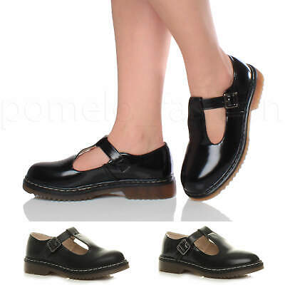 Womens Ladies Low Heel Flat Chunky Retro T-Bar Buckle Work Mary Jane Shoes Size
