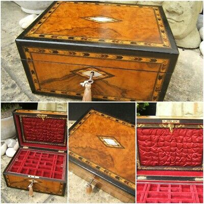 Wonderful 19C Large  Victorian Inlaid Antique Jewellery Box - Fab Interior