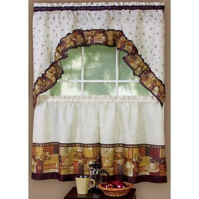 3 PC MOCHA Latte Expresso COFFEE Kitchen Curtains Tier & SWAG Set Coffee  Beans