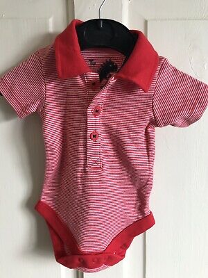 BNWOT TU Short Sleeve Collared T-Shirt Vest. Boys. Age Up to 1 Month. Red Stripe