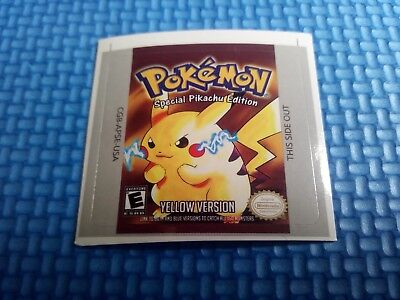 Label / Sticker For Nintendo Gameboy Game Boy Pokemon Yellow Amarillo (Not Game)
