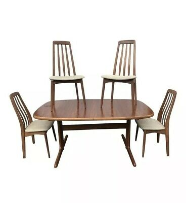 Teak Danish Mid Century Dining Table Set Chairs SKOVBY MOBELFABRIK