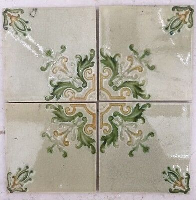 Antique Victorian Ceramic Tile - Set Of Four