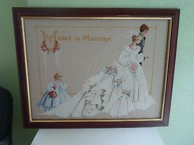 GORGEOUS Retro Cross-Stitch UNITED IN MARRIAGE Wedding Venue/Shop Wall Hanging