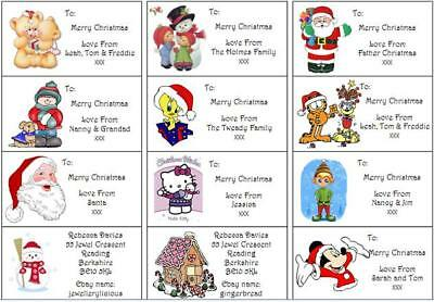 24 Personalised Xmas Stickers/Labels Handmade By . Address . Wrapping tag party
