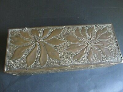 Hand Hammered Copper Covered Wood Box antique to vintage distressed wood