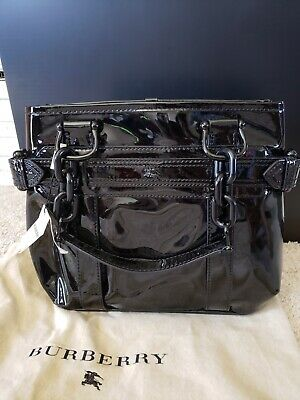 f277204f24a5 BURBERRY BLACK PATENT Leather Authentic Shoulder Bag Roomy Handbag ...