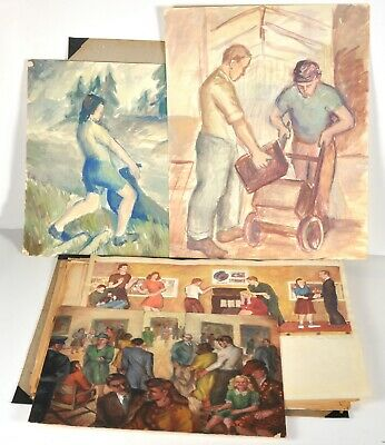 Vintage 1940 Listed Artist Barbara McClung Portfolio School Sketches Paintings
