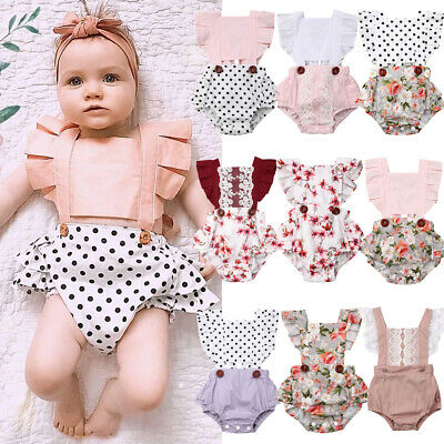 Summer Newborn Baby Girl Ruffle Backless Romper Bodysuit Jumpsuit Outfit Clothes