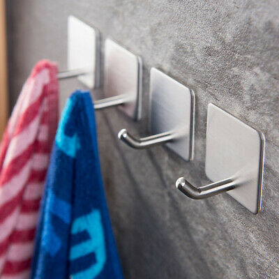 4X Strong Self Adhesive Stainless Steel Hooks Kitchen Bathroom Stick On Wall US