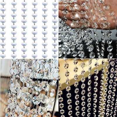 10FT Clear Glass Crystal Garland Strands Chandelier Prism Octagon Beads Chain Fo