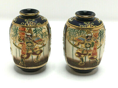 Pair of Antique Miniature Ceramic Pots Oriental Japanese or Chinese