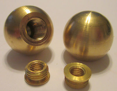 "(Lot of 2) 1"" Brass Ball Finials (Unfinished Brass)  w/Shoulder Reducer"