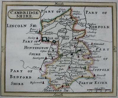 CAMBRIDGESHIRE  BY JOHN SELLER AND FRANCIS GROSE GENUINE ANTIQUE MAP  c1787
