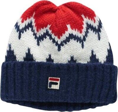 f5840064 Fila Logo Cuff Beanie Winter Hat Navy White Red Adult One Size Fits Most NEW !
