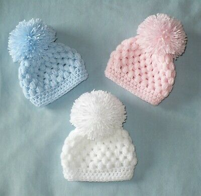 BABY BOY GIRL HAT HANDMADE CROCHET POM POM early baby to 0-3 m OWN DESIGN