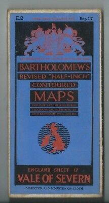 Bartholomews Revised Half Inch Cloth Map Vale of Severn Sheet 17 1936 Ludlow