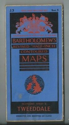 Bartholomews Revised Half Inch Cloth Map Tweeddale Sheet 5 1937 Jedburgh Selkirk