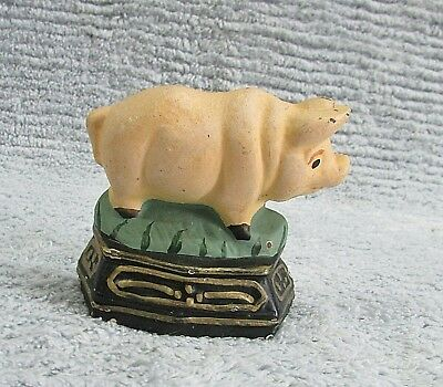 "Small 3"" Painted Cast Iron Pig Piggy Doorstop Country Farmhouse Kitchen FREE S/H"